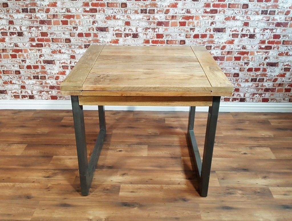 Extendable Rustic Dining Table Drop Leaf Hardwood Folding E Saving