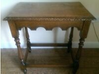 ANTIQUE CARVED OAK SIDE TABLE