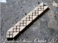 JOB LOT of 80 pieces of Light & Brown Travertine Border Tiles - Natural Stone