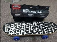 KIDS WOODEN SKATEBOARD WITH SAFETY KIT PACK VERY GOOD CONDITION