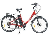 Freego Hawk Electric Bicycle. Step through. Red. As new.