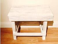 White pine wooden shabby chic side table