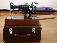 VINTAGE SINGER SEWING MACHINE IN BEAUTIFUL CONDITION LOTS OF EXTRAS ONLY £45