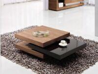 Modern swivel square coffee table walnut/glossy black