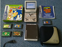 Nintendo Gameboy Advance Silver with 5 games (inc Sonic +Mario vs Donkey Kong) + case RETRO Game Boy