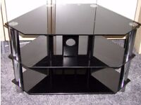 Corner TV stand Black and chrome