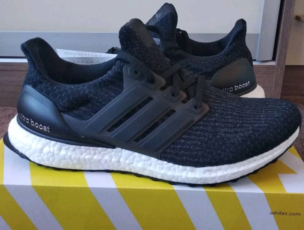 huge discount 77a24 c7d79 Adidas Ultra Boost Black 3.0 Trainers Shoes Running Black UK Size 9