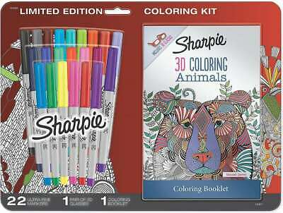 Sharpie Permanent Markers Ultra Fine Point Assorted Colors With 3d Animals Adu
