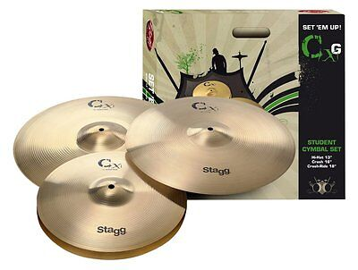 - Stagg CXG-SET Brass Starter Cymbal Set with 13-Inch Hi-Hats, 16-Inch Crash and 1