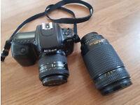 Nikon F50 35mm SLR Film Camera with 35-80mm & 70-300mm Lens 15 x Filters & Bag