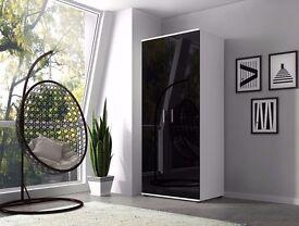 Wardrobe Vista 2 doors / Black / White / High Gloss