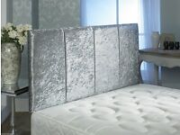 urgent\:Silver velvet headboard for double bed- 2 months old