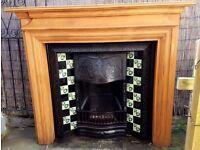 Edwardian Period Cast Iron Tiled Insert Open Fire Fireplace & Surround 1907 1908