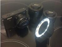 Nikon 1 J1 == Camera Bag, 3 Lens, charger 2 batteries , filters and macro LED light