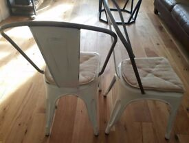 Barker and Stonehouse GUSTAVE Metal Dining Chairs Old White x 2