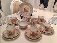 complete golden foreign vintage tea set