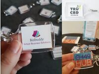 100 business card keyrings. High quality double sided printed key rings