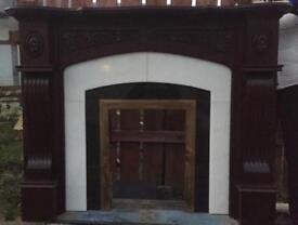 Mahogany Fire place either Marble and Brass Fire Surround