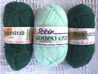 Vintage NEW (1 partially used?) 3 balls green 4 ply knitting yarn.1 Bambino;2 Homestead.£2 lot/£1 ea