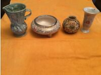 Beswick water pitcher; Celtic Rose bowl; Indian Tree vase; and Royal Winton vase