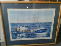 1/150 Ltd edition picture signed fishing boat ship collectable Christmas idea art