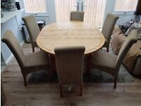 OAK FURNITURE LAND EXTENDABLE TABLE X 6 CHAIRS