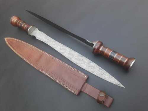 "2 ROMAN GLADIUS 24"" SET OF 2 SWORDS HANDMADE DAMASCUS HANDLE ROSE & PAKKA WOOD"