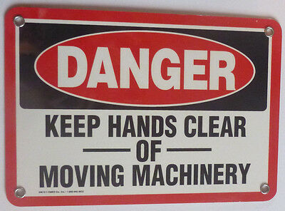 Osha Danger Safety Sign- 7 X 10- Keep Hands Clear Moving Machinery- Emed 20619