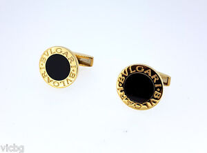 Lovely Pair of Bulgari Bvlgari 18K Yellow Gold and Onyx Cufflinks Original Boxes - <span itemprop='availableAtOrFrom'>Wien, Österreich</span> - Lovely Pair of Bulgari Bvlgari 18K Yellow Gold and Onyx Cufflinks Original Boxes - Wien, Österreich