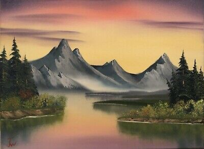 Damar Varnish Oil Painting - Gray Mountain; 18x24 in Oil Painting; Bob Ross Style; Damar Varnish Spray