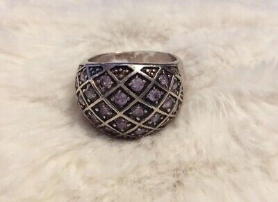 Vtg 925 Gold-Plated Purple Gemstone Cluster Cocktail Ring Sz 6.5 Thailand  (#R1) Gemstone Cluster Cocktail Ring
