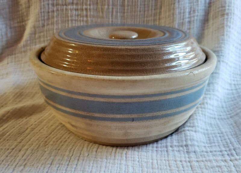 """Early Antique Yellow Ware Butter Crock Lidded Bowl Blue Stripes USA 7"""" 1800"""