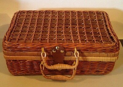Jungle Basket - Jungle Chic WICKER Rattan BASKET Picnic Storage Case Leather/ Brass Latch NEW