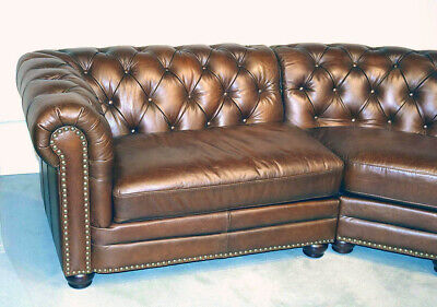 NEW Chesterfield Top Grain Leather 3 Section Sofa Restoration Hardware Qaulity - $4,295.00