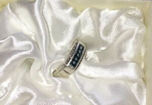 Men's blue and white real diamond ring