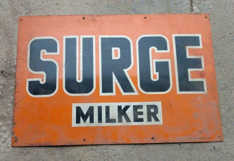 "VINTAGE TIN ADVERTISING SURGE MILKER SIGN 12""x18"""