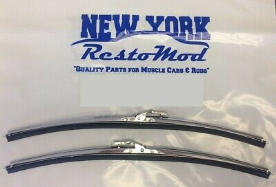 Biscayne Windshield - Stainless Steel Wiper Arm Blades with DIMPLES Correct Reproduction A MUST! PAIR