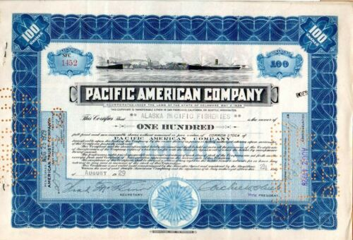 1929 Pacific American Company of Washington and Alaska Stock Certificate #1452