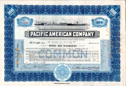 1929 Pacific American Company of Washington and Alaska Stock Certificate #479