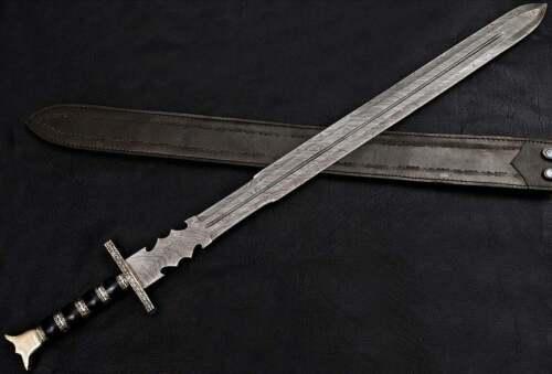 BEAUTIFUL CUSTOM HANDMADE 30 inches DAMASCUS STEEL HUNTING SWORD WITH SHEATH