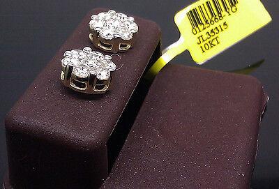 10K Yellow Gold Men/Women's Flower Shape Earring 1.00CT Round Diamond