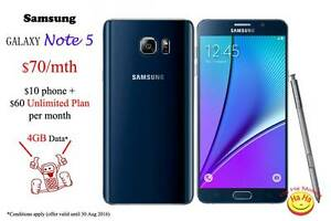 New Samsung Galaxy Note5 Australian Stock 1 month Unlimited data Auburn Auburn Area Preview