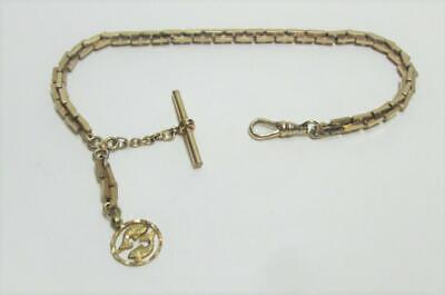 VTG 12k Gold Filled Pocket Watch Chain FOB w T-Bar & 14k Fish Emblem Unused 27g
