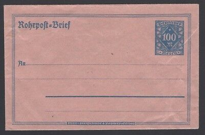 Germany 1923 Rohrpost Pneumatic Mail Envelope 100Pf Unused  Mi  Nr  Ru11