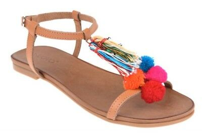 New Inuovo Women's Sandals boho Indian gypsy Pom Pom ethnic real leather UK 5 BN