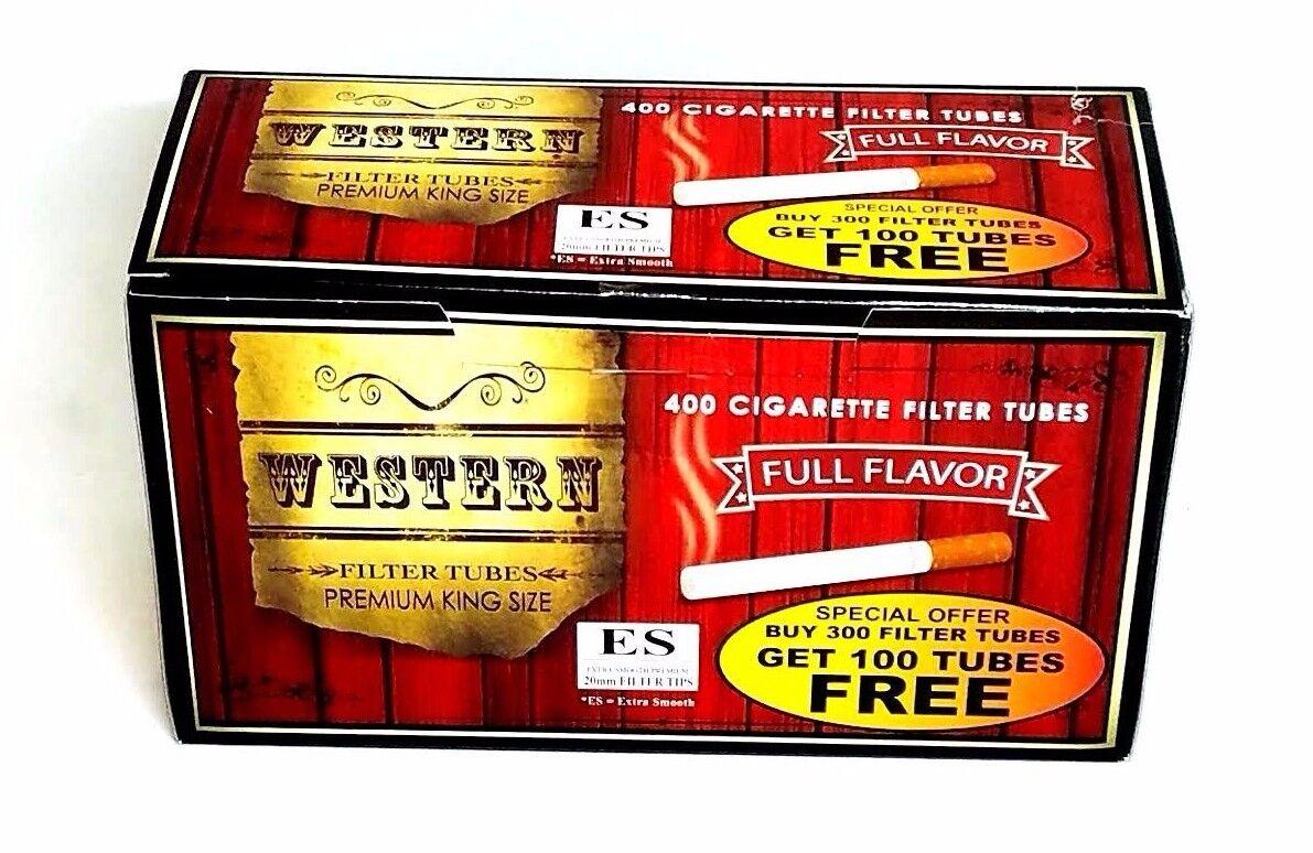 Western King Size Cigarette Tubes (box) 400 Filter Tubes Full Flavor RYO
