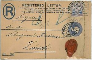 GB -  POSTAL HISTORY - REGISTERED STATIONERY COVER to SWITZERLAND 1899