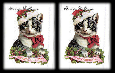 Gifted Line Stickers - Vintage Gifted Line Victorian Merry Christmas Cat Hat John Grossman Stickers 2