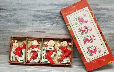 Vintage Ceramic NOEL Christmas Elves/Pixies made in Japan 1950s w/ Original Box