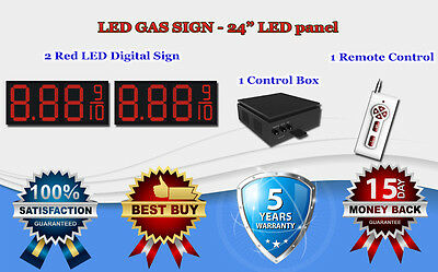 2 X 24 Red Led Gas Price Changer Panel - Digital Signs 5 Years Warranty